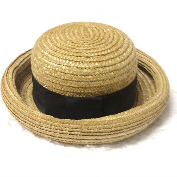 a63169b4c Breton style black bow raffia Straw hat
